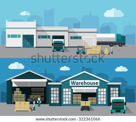 Warehouse building and shipping process flat horizontal banner set isolated vector illustration - stock vector
