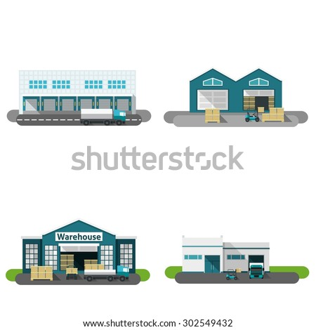 Warehouse building flat icons set with transportation vehicles isolated vector illustration - stock vector
