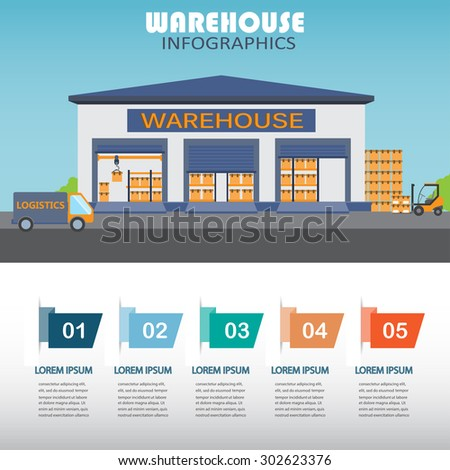 warehouse, cargo, logistic business management infographics background and elements. Can be used for business data, web design, brochure template. vector illustration - stock vector