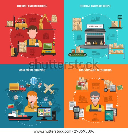 Warehouse design concept set with worldwide logistic flat icons isolated vector illustration - stock vector
