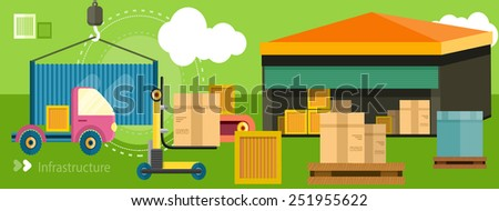 Warehouse distribution delivery in different locations. The technique works with boxes parcels. Delivery shipping concept in flat design on banner - stock vector