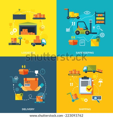Warehouse flat set of logistics safekeeping delivery shipping isolated vector illustration - stock vector