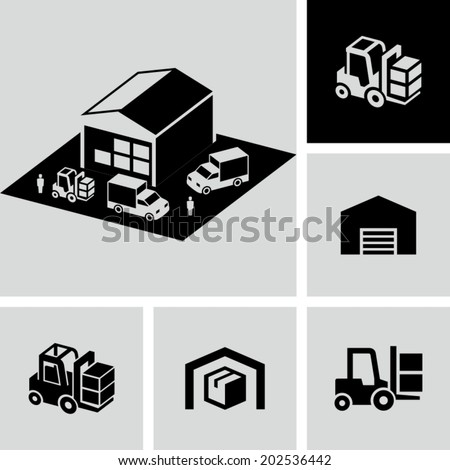 Warehouse forklift delivery truck vector icons - stock vector