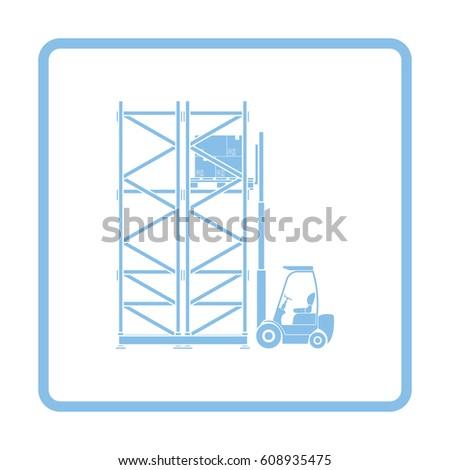 Warehouse Forklift Icon Blue Frame Design Stock Vector 608935475 ...