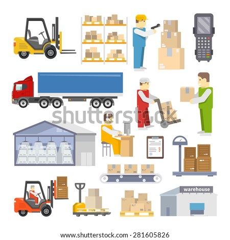 Warehouse icons flat set with shipping and delivery objects isolated vector illustration - stock vector