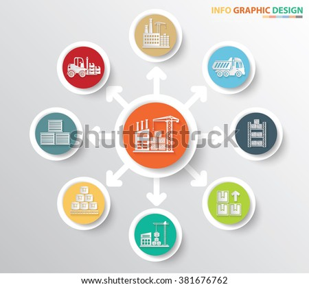 Warehouse,Industry and factory concept info graphics design,clean vector - stock vector