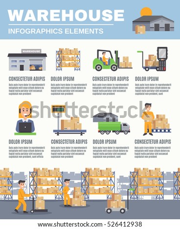 Warehouse infographics flat layout cargo transport stock for Warehouse racking layout software free