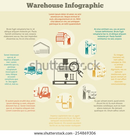 Warehouse infographics set with delivery stock searching shipping and transportation symbols vector illustration - stock vector