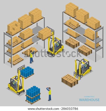 Warehouse loading isometric vector illustration. Workers of warehouse load boxes and barrels to stacks using forklifts. - stock vector
