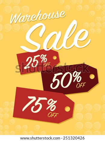 Warehouse sale sign with 25, 50, and 75% off original price - stock vector