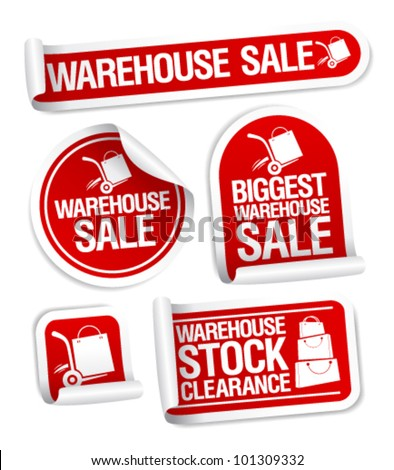 Warehouse sale stickers with hand truck. - stock vector