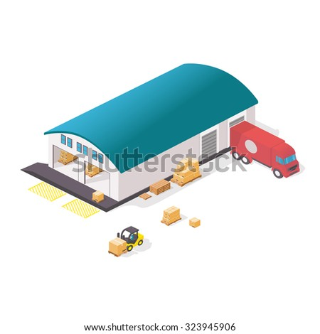 Warehouse set with shipping and delivery flat elements isolated on white vector illustration. Warehouse transportation and delivery icons isometric set with truck and forklift. - stock vector