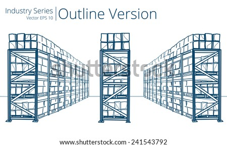 Warehouse Shelves. Vector illustration of Warehouse Shelves, Outline Series. - stock vector
