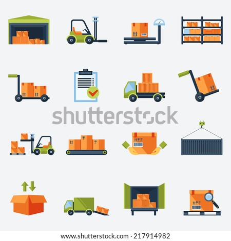 Warehouse transportation and delivery icons flat set isolated vector illustration - stock vector
