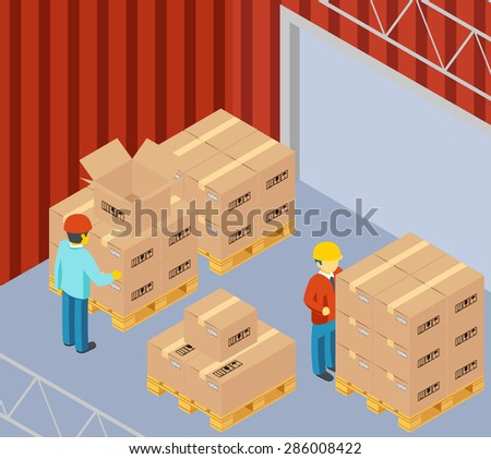 Warehouse with cardboard boxes on pallets. Package and storekeeper, worker and man, delivery container, vector illustration - stock vector