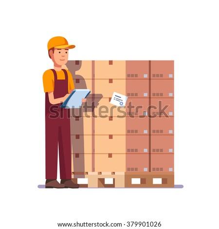 Warehouse worker checking goods on pallet. Stock taking job. Modern flat style vector illustration isolated on white background. - stock vector