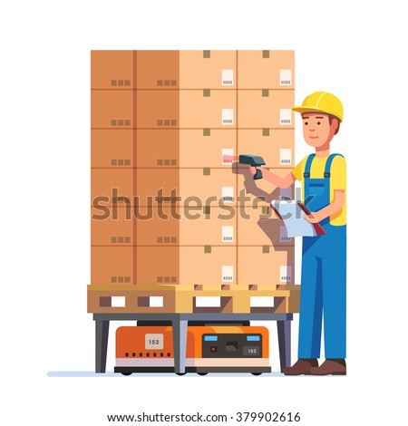 Warehouse worker checking goods pallet on a robot with barcode scanner. Stock taking job. Modern flat style vector illustration isolated on white background. - stock vector