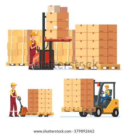 Warehouse workers loading, stacking goods with electric hand lifters and forklift truck. Modern flat style vector illustration isolated on white background. - stock vector