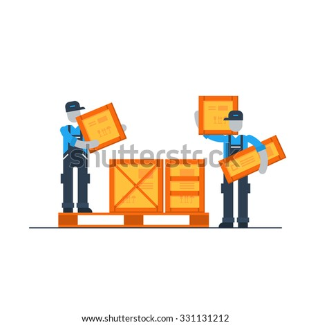 Warehouse workers, logistics services  - stock vector