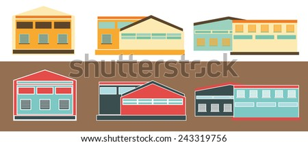 Warehouses. Flat icons of Warehouse and Distribution buildings.  - stock vector
