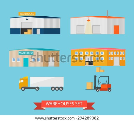 Warehouses icons set. Storehouses buildings collection, vector illustration  - stock vector