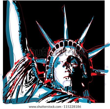 Warhol-Inspired Lady Liberty - stock vector