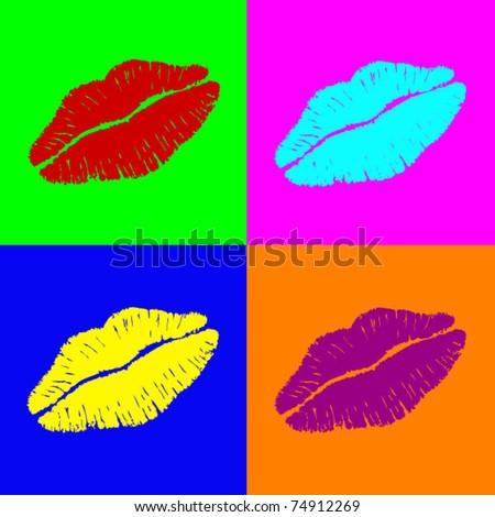Warhol lips - stock vector