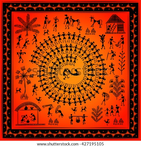 Warli painting hand drawn traditional ancient stock vector 427195105 warli painting hand drawn traditional the ancient tribal art india pictorial language is matched thecheapjerseys Image collections