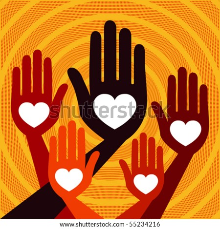 Warm and friendly hands vector. - stock vector