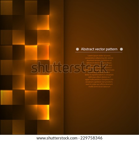 warm brown abstract geometric vertical background with luminous accents. Vector illustration - stock vector