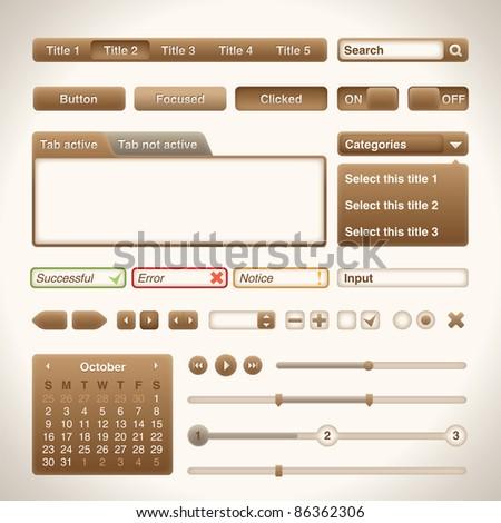 Warm brown UI set - stock vector