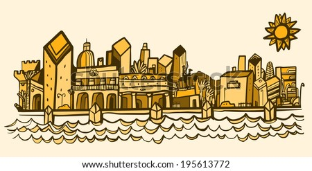 warm city and seafront - stock vector