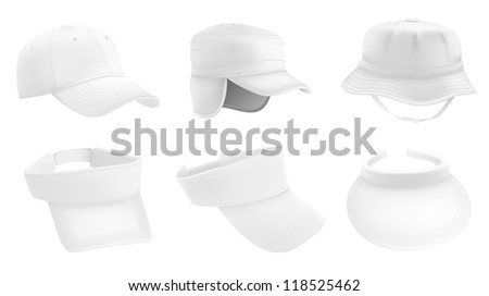 Warm hat, promo visor, baseball cap, panama hat templates. - stock vector