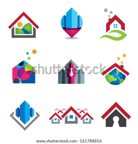 Warm home business social in small social global community logo - stock vector