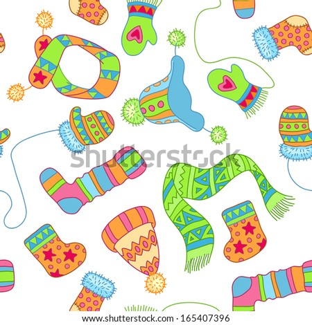 Warm knitted accessories, repeating vector pattern