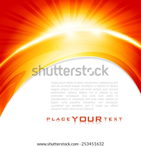 Warm rays sunlight. Abstract red and yellow color background with lighting effect. Shiny cover design template layout for corporate card, book, booklet, brochure, poster, banner. Vector illustration - stock vector