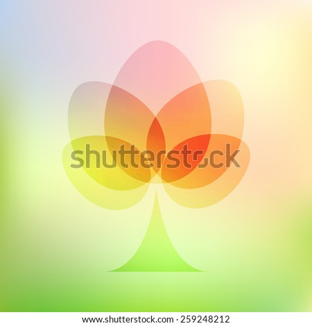 Warm spring soft abstract conceptual tree illustration made with egg shapes. - stock vector