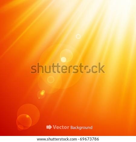 Warm sun light. Vector illustration - stock vector