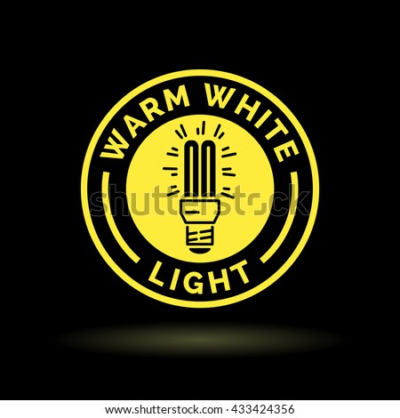 Warm white fluorescent CFL light bulb icon. Yellow sign on black background. Vector illustration. - stock vector
