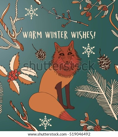 Warm winter wishes card of cute cartoon fox in modern simple flat style. Vector illustration. Christmas card.