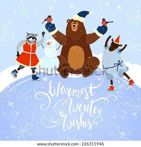 warmest winter wishes cute winter card with animals playing outdoors and hand drawn letters  - stock vector