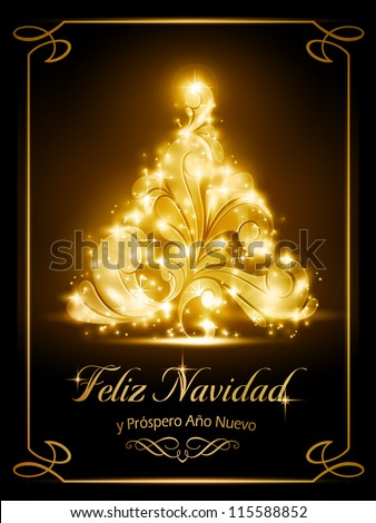 "Warmly sparkling Christmas tree light effects on dark brown background with the text ""Feliz Navidad y Pr�³spero A�±o Nuevo"", Spanish for ""Merry Christmas and a Happy New Year"". - stock vector"