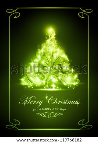 "Warmly sparkling Christmas tree on dark green background of 5x7 inch, with the text ""Merry Christmas and a Happy New Year"". Light effects give it a radiating glow. - stock vector"