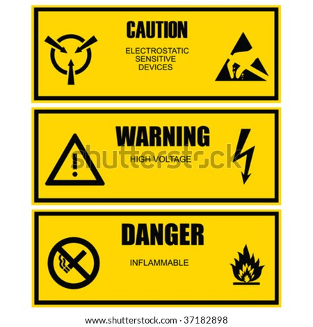 Warning and caution yellow vector label template - stock vector