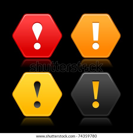 Warning attention icon web 2.0 button. Colored hexagon shape with color reflection on black background - stock vector