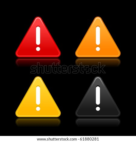 Warning attention sign with exclamation mark web 2.0 button. Smooth triangular shapes with reflection on black background - stock vector