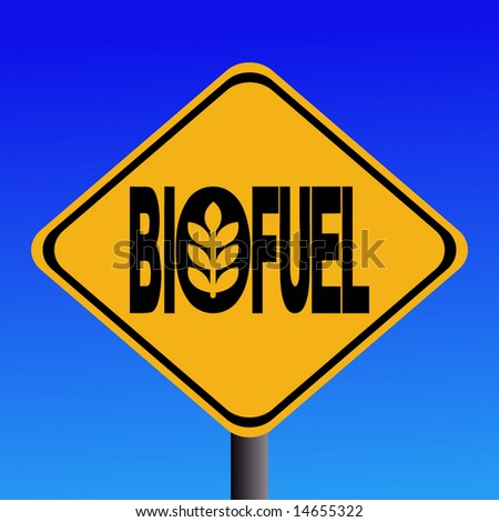 Warning Biofuel sign with cereal symbol illustration