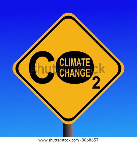 warning Climate change CO2 emissions sign illustration - stock vector