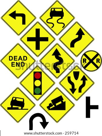 Warning / danger road signs in vector form (left turn; slippery; dead end; intersection; curvy road; light ahead; truck; car; etc) - stock vector