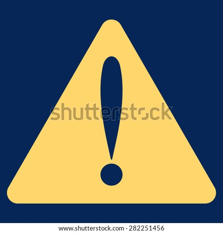 Warning error icon from Basic Plain Icon Set. Style: flat vector image, yellow color, rounded angles, blue background. - stock vector